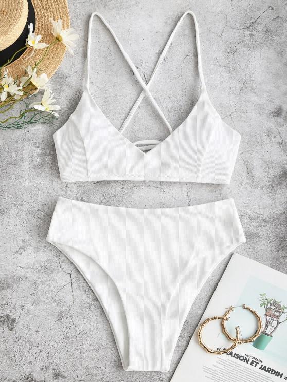 fashion ZAFUL Ribbed Cross Lace-up High Cut Bikini Swimwear - WHITE M