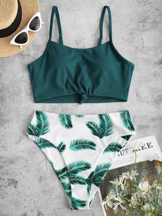 ZAFUL Flower Leaf Print Ribbed Knotted Tankini Swimwear - ديب غرين 2XL