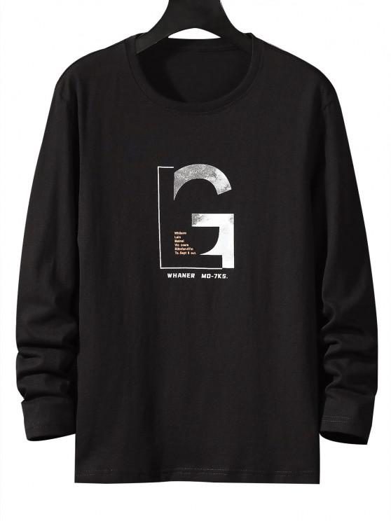 Letter Graphic Long Sleeve Basic T-shirt - أسود XS