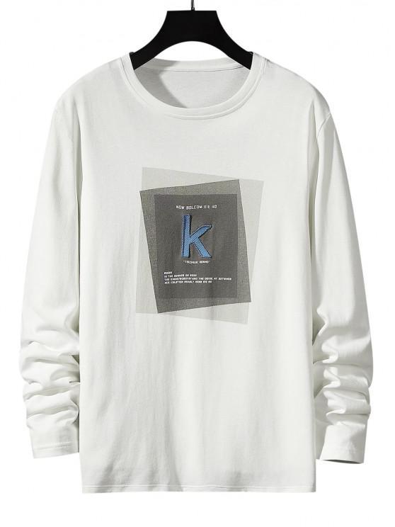 womens Striped K Letter Geometric Pattern Basic T-shirt - WHITE M