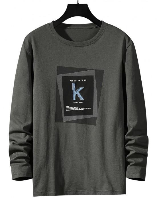 Maglietta a Righe con Motivo Geometrico a Lettera e Fibbia - Grigio Scuro XS