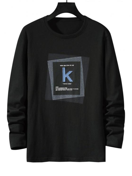 online Striped K Letter Geometric Pattern Basic T-shirt - BLACK S