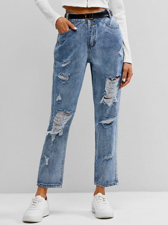 women's ZAFUL Distressed Ripped Jeans - LIGHT BLUE XL