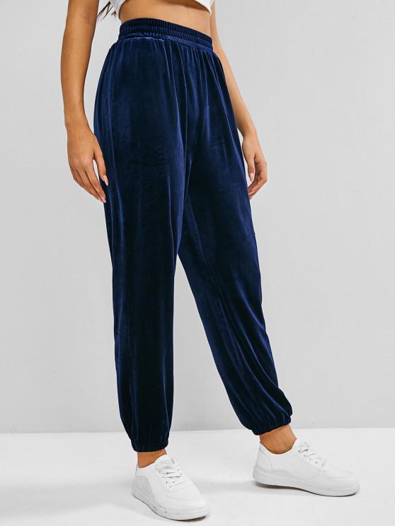 ZAFUL Pantalon Pieds de Poutre à Taille Haute en Velours - Bleu S