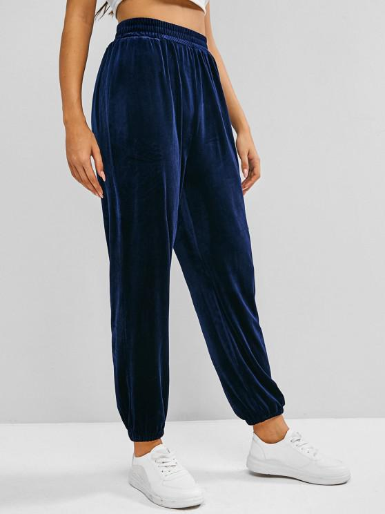 ladies ZAFUL Beam Feet Velvet High Waisted Pants - BLUE L