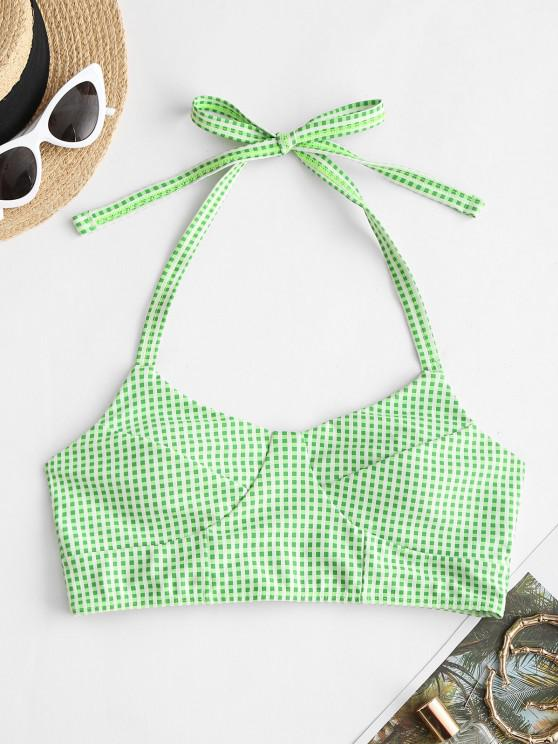 fashion ZAFUL Gingham Halter Padded Swim Top - LIGHT GREEN S
