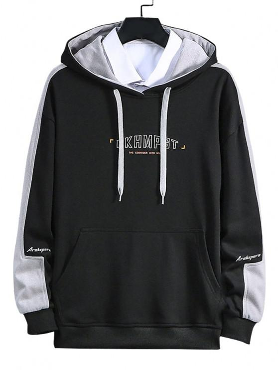 women's Letter Print Color Blocking Panel Hoodie - BLACK L