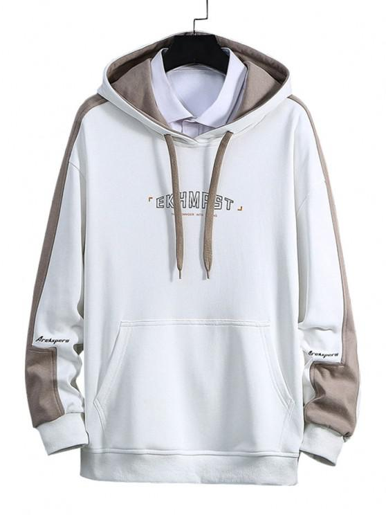 latest Letter Print Color Blocking Panel Hoodie - WHITE S