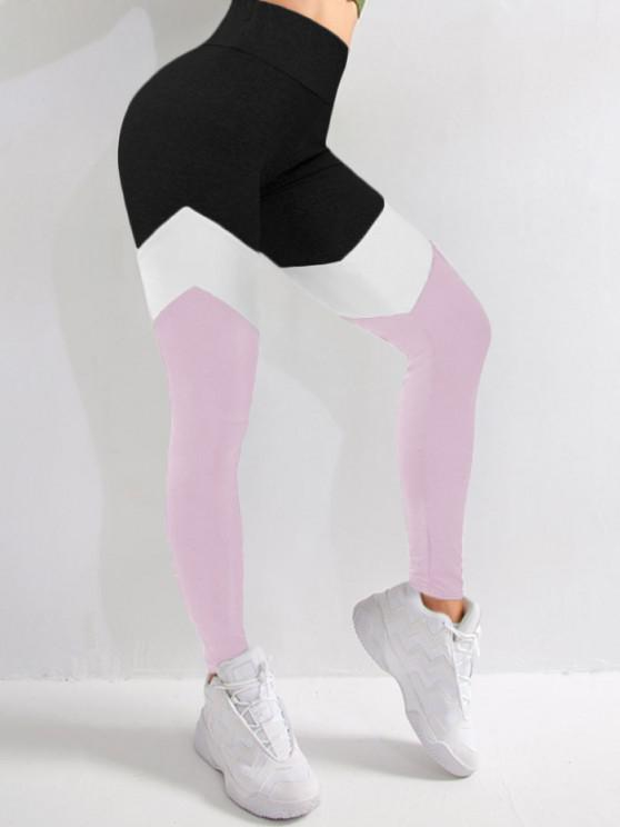 shops Colorblock High Waist Sports Leggings - LIGHT PINK M