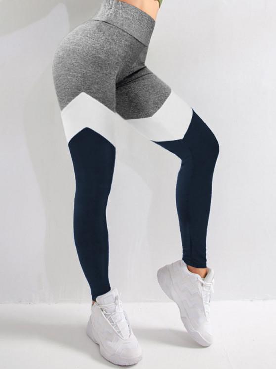 affordable Colorblock High Waist Sports Leggings - DEEP BLUE L