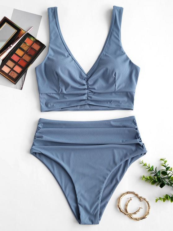 chic ZAFUL Ruched Ribbed Tankini Swimwear - LIGHT BLUE S