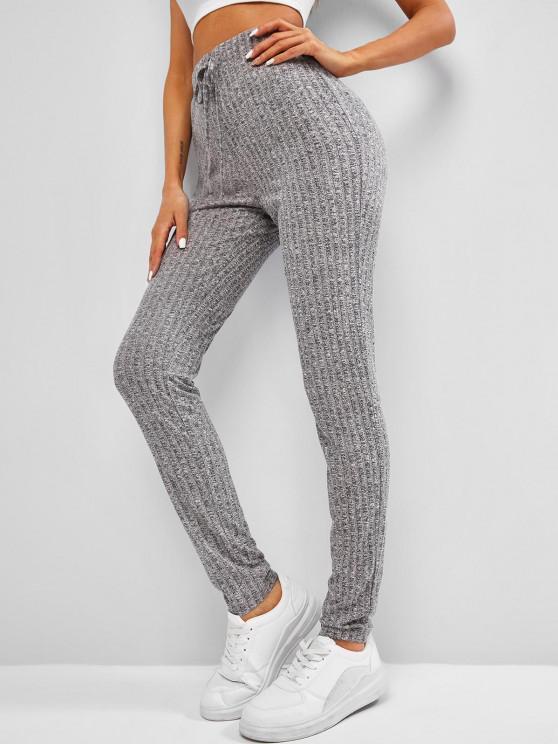 women's ZAFUL Heathered Drawstring Knitted Leggings - DARK GRAY L