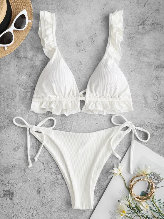 ladies ZAFUL Ribbed Ruffle Tie Side Bikini Swimwear - WHITE S