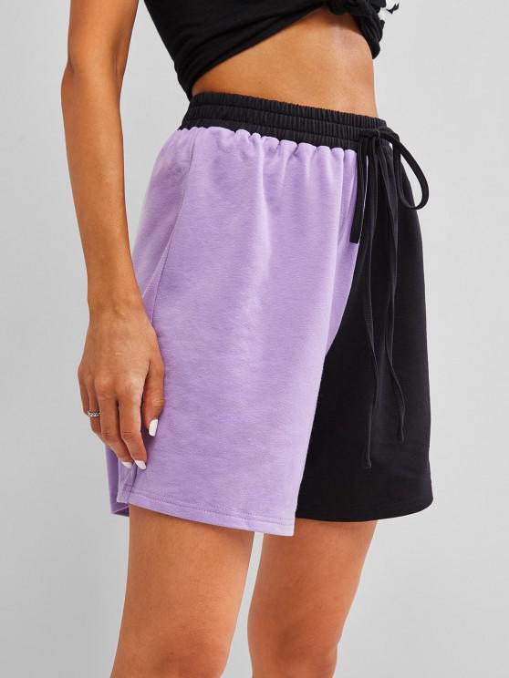 shops ZAFUL Two Tone Shorts - PURPLE S
