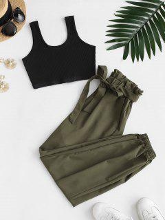 Ribbed Cropped Belted Paperbag Pants Set - Green S