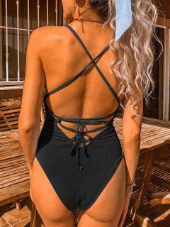 ZAFUL Lace-up Crisscross Ribbed Swimsuit - Black Xl