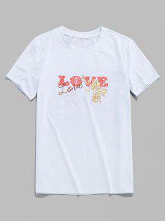 Basic Love Flower Print Short Sleeve T-shirt - White S