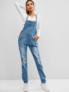 Pockets Distressed Skinny Denim Overalls - Blueberry Blue Xl