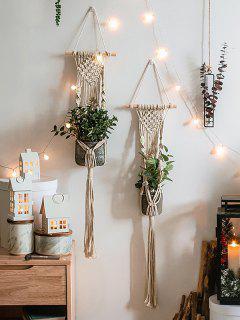 Crochet Tassel Plant Hanger For Pot Holder - Warm White