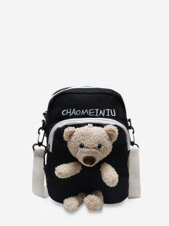 Cute Plushy Bear Canvas Small Crossbody Bag - Black