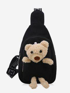 Cute Bear Canvas Chest Bag - Black