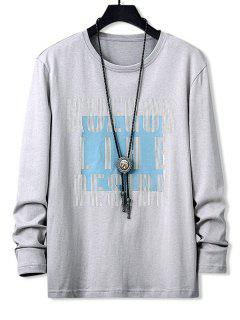 Letters Graphic Print Long Sleeve Casual T-shirt - Gray Xs