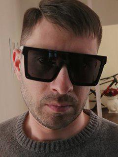 Oversized Square Shield Sunglasses - Black