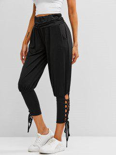 Ruched Waist Lace Up Yoga Sports Pants - Black Xl