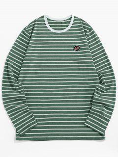 ZAFUL Number Embroidery Striped Long Sleeve T-shirt - Green S