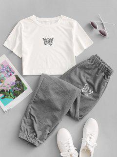 Ensemble De Pantalon De Jogging Papillon Graphique Deux Pièces - Gris Foncé S