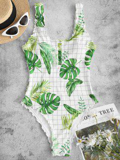 ZAFUL Palm Ribbed Snap Button Backless One-piece Swimsuit - Multi M