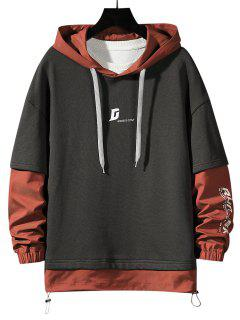 Letter Print Faux Twinset Hoodie - Dark Gray M