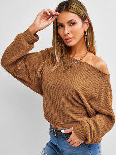 ZAFUL Skew Neck Batwing Sleeve Crop Sweater - Coffee M