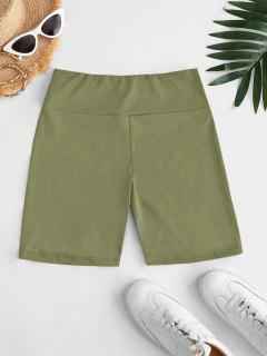 High Waisted Plain Shorts Leggings - Light Green L