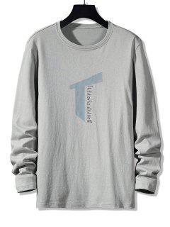 Letter Geometric Print Long Sleeve Casual T-shirt - Gray L