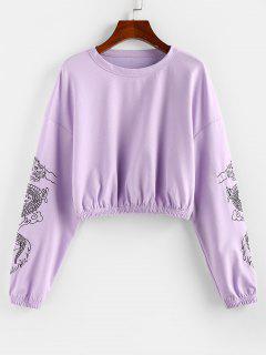 ZAFUL Sweat-shirt Court DragonOrientalImprimé à Goutte Epaule - Mauve L