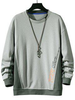 Color Blocking Letter Print Sweatshirt - Light Gray Xl