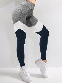 Colorblock High Waist Sports Leggings - Deep Blue S