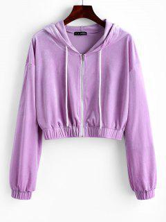 ZAFUL Hooded Velvet Zip Up Jacket - Purple L