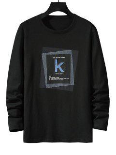 Striped K Letter Geometric Pattern Basic T-shirt - Black S