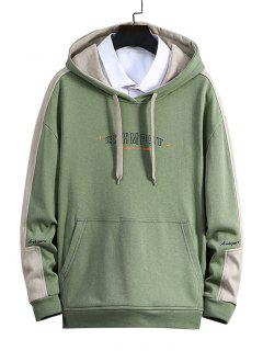 Letter Print Color Blocking Panel Hoodie - Green M