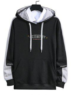 Letter Print Color Blocking Panel Hoodie - Black L