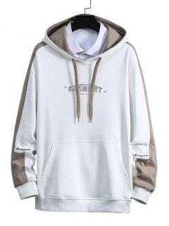 Letter Print Color Blocking Panel Hoodie - White Xl