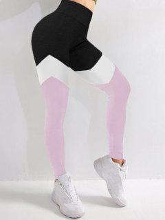 Colorblock High Waist Sports Leggings - Light Pink M