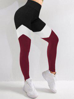 Leggings Deportivos De Cintura Alta De Color Bloque - Color Rojo Oscuro S