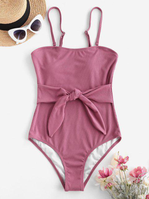 ZAFUL Una Pieza de Cintura Acanalado con Nudo - Rosa claro S Mobile