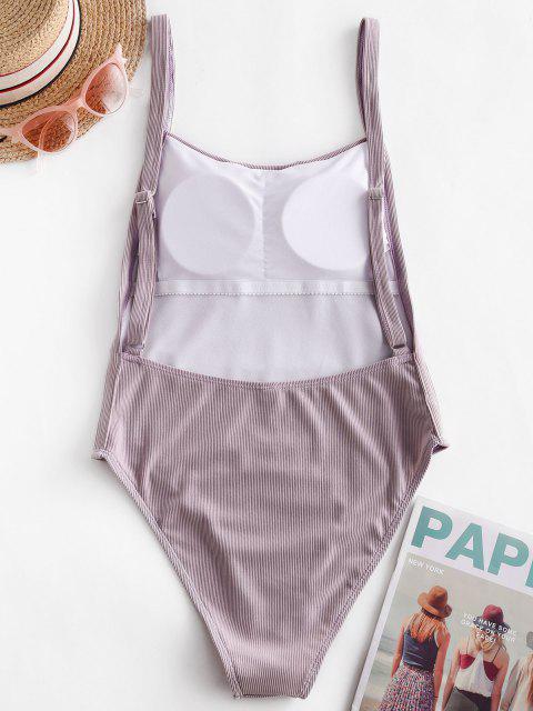 women's ZAFUL Ribbed Drop Armhole High Cut One-piece Swimsuit - MAUVE S Mobile