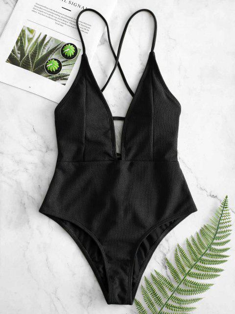 outfit ZAFUL Lace-up Crisscross Ribbed Swimsuit - BLACK M Mobile