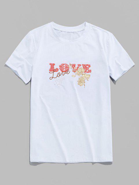 T-shirt a Maniche Corte con Stampa di Fiore e Love - Bianca XS Mobile