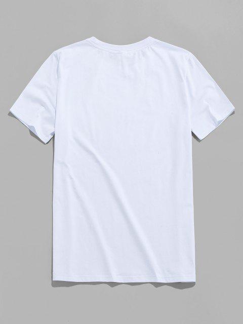 T-shirt a Maniche Corte con Stampa di Fiore e Love - Bianca 2XL Mobile
